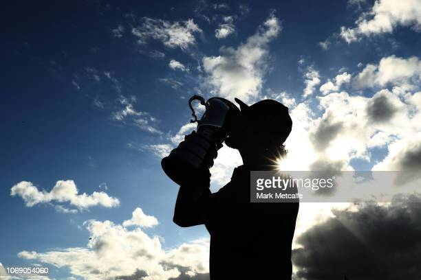 Abraham Ancer of Mexico kisses the Stonehaven Cup during day four of the 2018 Australian Golf Open at The Lakes Golf Club on November 18 2018 in...