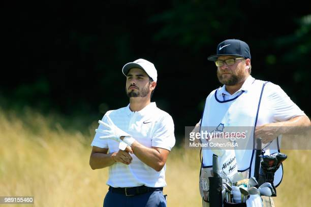 Abraham Ancer of Mexico looks on at the third hole during the fourth and final round of the Quicken Loans National held at TPC Potomac at Avenel Farm...
