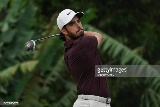 Abraham Ancer of Mexico plays a shot during the final round of the CIMB Classic at TPC Kuala Lumpur on October 14 2018 in Kuala Lumpur Malaysia