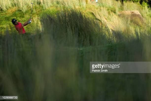 Abraham Ancer of Mexico plays a shot from the 17th hole during the final round of the Dell Technologies Championship at TPC Boston on September 3...