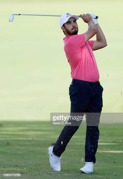 Abraham Ancer of Mexico plays a shot on the 16th hole during the first round of the Sony Open In Hawaii at Waialae Country Club on January 10 2019 in...