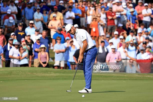 Abraham Ancer of Mexico plays a shot on the 18th hole during the final round of the World Golf Championship-FedEx St Jude Invitational at TPC...