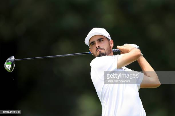 Abraham Ancer of Mexico plays a shot on the fifth hole during the final round of the World Golf Championship-FedEx St Jude Invitational at TPC...