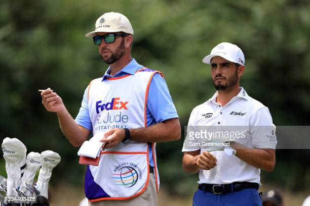 Abraham Ancer of Mexico plays a shot on the fourth hole during the final round of the World Golf Championship-FedEx St Jude Invitational at TPC...