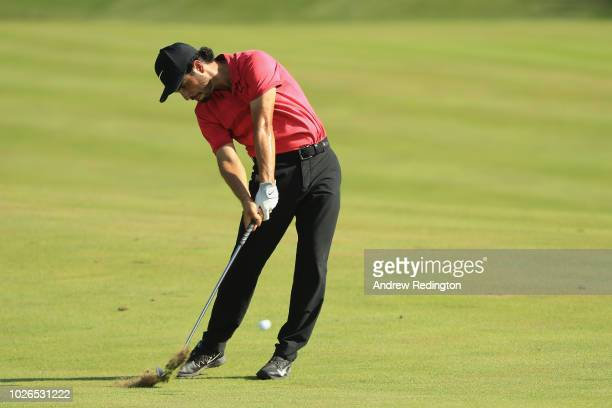 Abraham Ancer of Mexico plays a shot on the ninth hole during the final round of the Dell Technologies Championship at TPC Boston on September 3 2018...