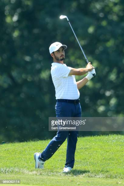 Abraham Ancer of Mexico plays a shot on the second hole during the final round of the Quicken Loans National at TPC Potomac on July 1 2018 in Potomac...