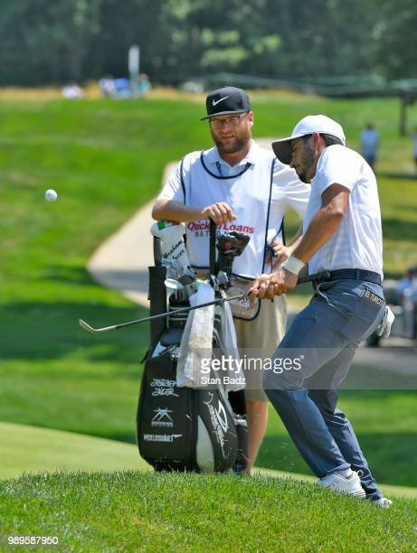 Abraham Ancer of Mexico plays a wedge shot on the third hole during the final round of the Quicken Loans National at TPC Potomac at Avenel Farm on...