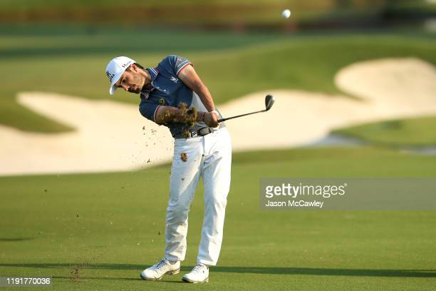 Abraham Ancer of Mexico plays an approach shot on the 10th hole during the ProAm event ahead of the 2019 Australian Golf Open at The Australian Golf...