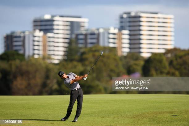 Abraham Ancer of Mexico plays an approach shot on the 17th hole during The Open Qualifying Series part of the Emirates Australian Open at The Lakes...
