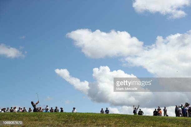 Abraham Ancer of Mexico plays his approach shot on the 11th hole during day four of the 2018 Australian Golf Open at The Lakes Golf Club on November...