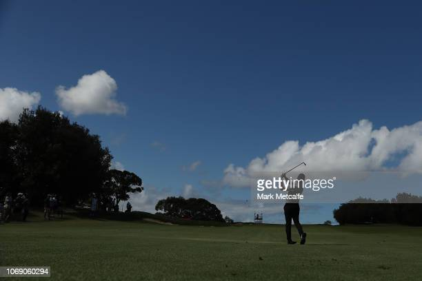 Abraham Ancer of Mexico plays his approach shot on the 12th hole during day four of the 2018 Australian Golf Open at The Lakes Golf Club on November...