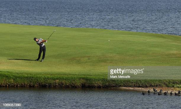 Abraham Ancer of Mexico plays his approach shot on the 17th hole during day four of the 2018 Australian Golf Open at The Lakes Golf Club on November...
