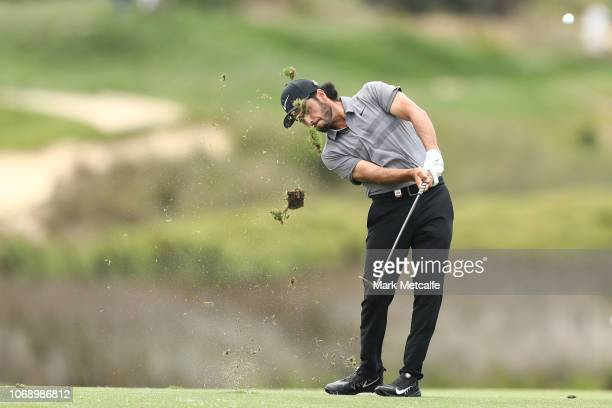 Abraham Ancer of Mexico plays his approach shot on the 1st hole during day four of the 2018 Australian Golf Open at The Lakes Golf Club on November...