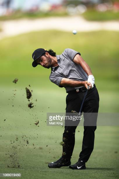 Abraham Ancer of Mexico plays his approach shot on the 5th hole during day four of the 2018 Australian Golf Open at The Lakes Golf Club on November...