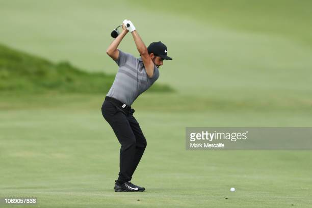 Abraham Ancer of Mexico plays his approach shot on the 8th hole during day four of the 2018 Australian Golf Open at The Lakes Golf Club on November...