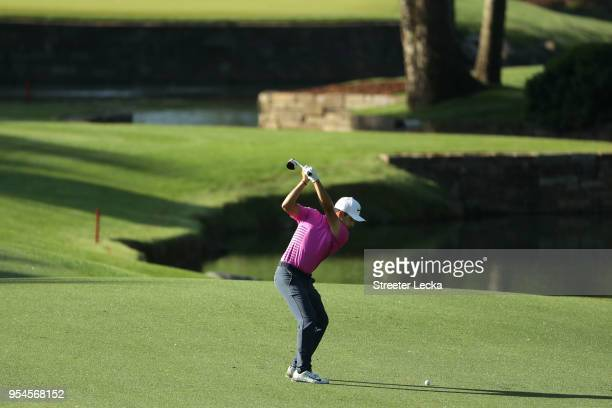 Abraham Ancer of Mexico plays his approach shot on the seventh hole during the second round of the 2018 Wells Fargo Championship at Quail Hollow Club...