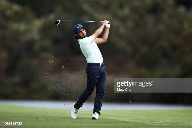 Abraham Ancer of Mexico plays his fairway shot on the 17th hole during day three of the 2018 Australian Golf Open at The Lakes Golf Club on November...