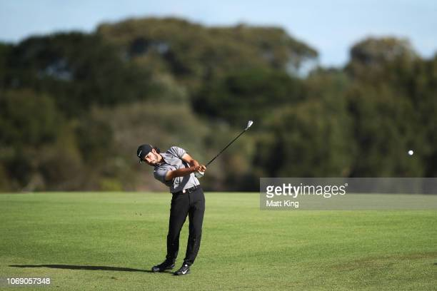 Abraham Ancer of Mexico plays his fairway shot on the 17th hole during day four of the 2018 Australian Golf Open at The Lakes Golf Club on November...