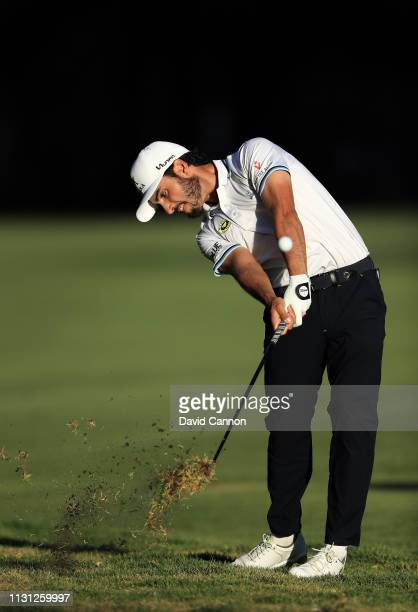 Abraham Ancer of Mexico plays his second shot on the 18th hole during the first round of World Golf ChampionshipsMexico Championship at Club de Golf...