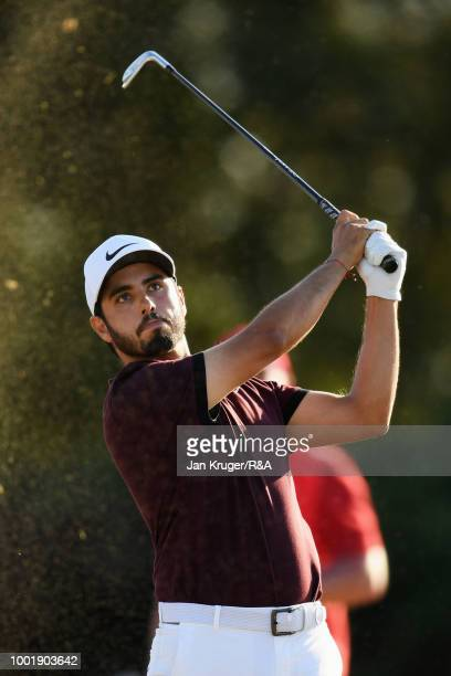 Abraham Ancer of Mexico plays his shot from the 13th tee during round one of the 147th Open Championship at Carnoustie Golf Club on July 19 2018 in...
