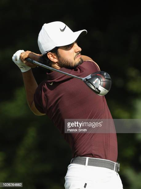 Abraham Ancer of Mexico plays his shot from the 14th tee during round three of the Dell Technologies Championship at TPC Boston on September 2 2018...