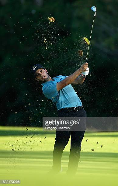 Abraham Ancer of Mexico plays his shot from the 17th fairway during the first round of the OHL Classic at Mayakoba on November 10 2016 in Playa del...