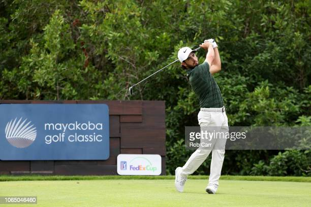 Abraham Ancer of Mexico plays his shot from the 17th tee during the first round of the Mayakoba Golf Classic at El Camaleon Mayakoba Golf Course on...