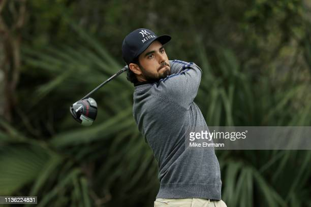Abraham Ancer of Mexico plays his shot from the fifth tee during the third round of The PLAYERS Championship on The Stadium Course at TPC Sawgrass on...