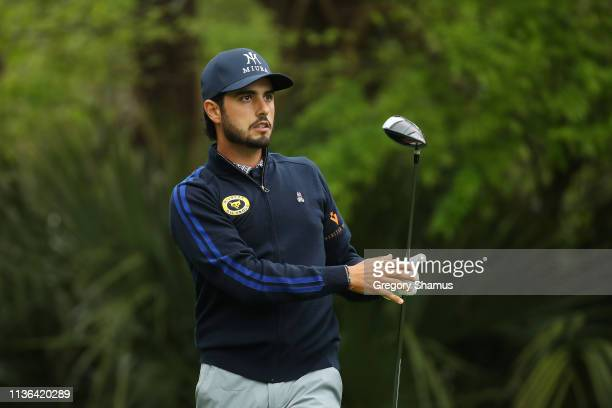 Abraham Ancer of Mexico plays his shot from the fifth tee during the second round of The PLAYERS Championship on The Stadium Course at TPC Sawgrass...