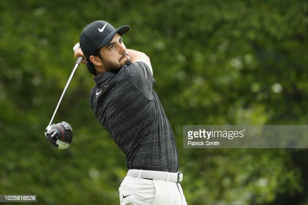 Abraham Ancer of Mexico plays his shot from the fourth tee during round two of the Dell Technologies Championship at TPC Boston on September 1 2018...