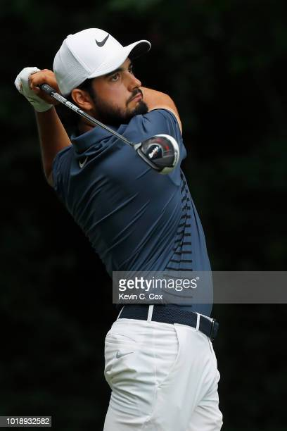 Abraham Ancer of Mexico plays his shot from the second tee during the third round of the Wyndham Championship at Sedgefield Country Club on August 18...