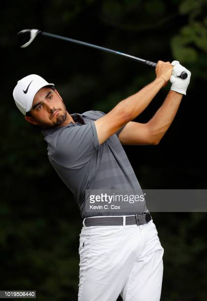 Abraham Ancer of Mexico plays his shot from the second tee during the final round of the Wyndham Championship at Sedgefield Country Club on August 19...