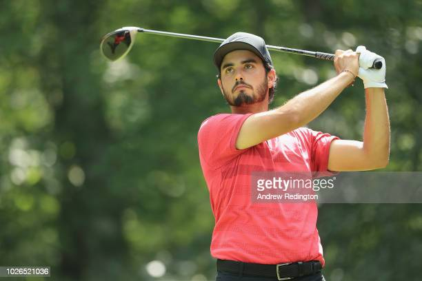 Abraham Ancer of Mexico plays his shot from the second tee during the final round of the Dell Technologies Championship at TPC Boston on September 3...