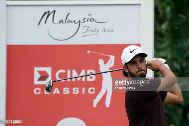 Abraham Ancer of Mexico plays on the 2nd hole during the final round of the CIMB Classic at TPC Kuala Lumpur on October 14 2018 in Kuala Lumpur...
