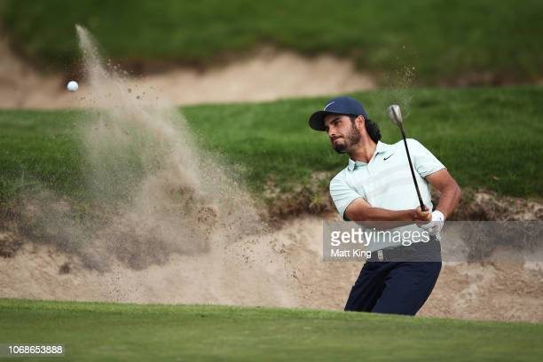 Abraham Ancer of Mexico plays out of the bunker on the 14th hole during day three of the 2018 Australian Golf Open at The Lakes Golf Club on November...