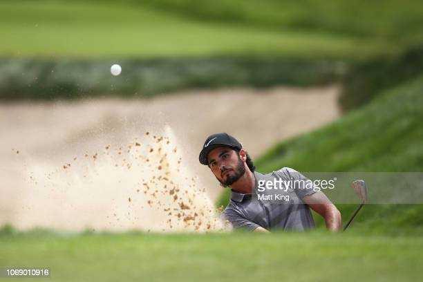 Abraham Ancer of Mexico plays out of the bunker on the 8th hole during day four of the 2018 Australian Golf Open at The Lakes Golf Club on November...