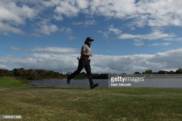 Abraham Ancer of Mexico plays runs on the 17th hole during day four of the 2018 Australian Golf Open at The Lakes Golf Club on November 18 2018 in...
