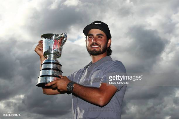 Abraham Ancer of Mexico poses with the Stonehaven Cup during day four of the 2018 Australian Golf Open at The Lakes Golf Club on November 18 2018 in...