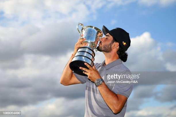 Abraham Ancer of Mexico poses with The Stonehaven Cup during The Open Qualifying Series part of the Emirates Australian Open at The Lakes Golf Club...