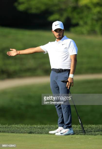 Abraham Ancer of Mexico putts on the 16th green during the final round of the Quicken Loans National at TPC Potomac on July 1 2018 in Potomac Maryland
