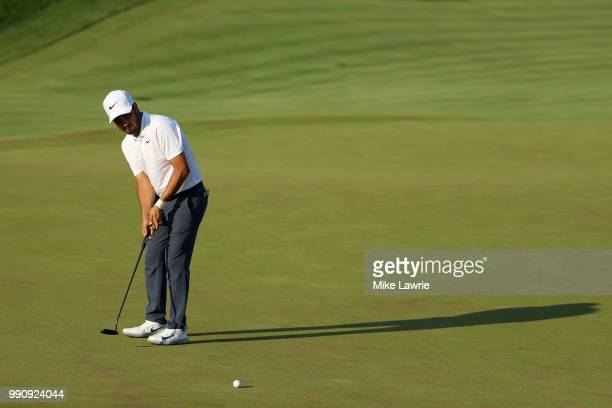 Abraham Ancer of Mexico putts on the 18th green during the final round of the Quicken Loans National at TPC Potomac on July 1 2018 in Potomac Maryland