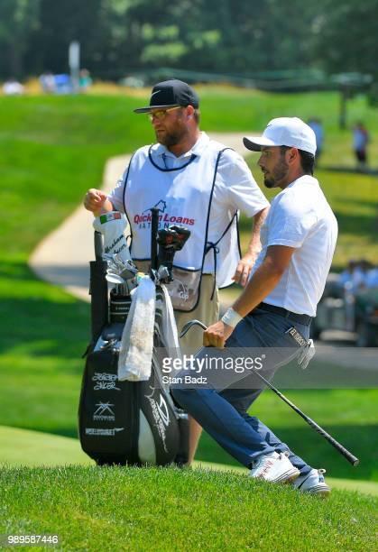 Abraham Ancer of Mexico reacts to his wedge shot on the third hole during the final round of the Quicken Loans National at TPC Potomac at Avenel Farm...