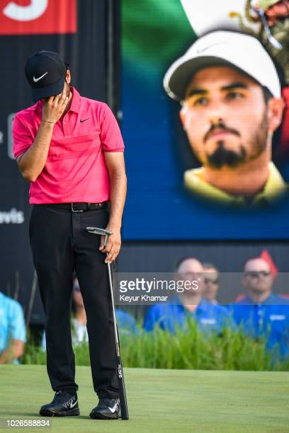 Abraham Ancer of Mexico reacts to missing his putt on the 18th hole green during the final round of the Dell Technologies Championship at TPC Boston...