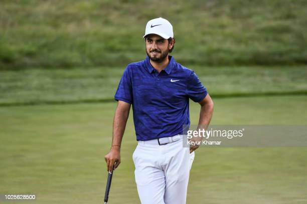 Abraham Ancer of Mexico smiles on the ninth hole green during the first round of the Dell Technologies Championship at TPC Boston on August 31 2018...