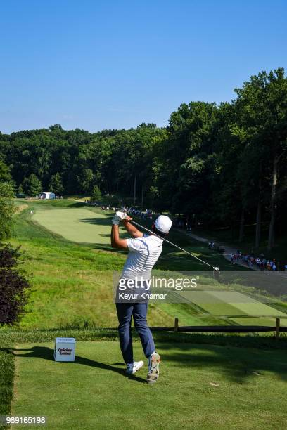 Abraham Ancer of Mexico tees off on the 10th hole during the final round of the Quicken Loans National at TPC Potomac at Avenel Farm on July 01 2018...