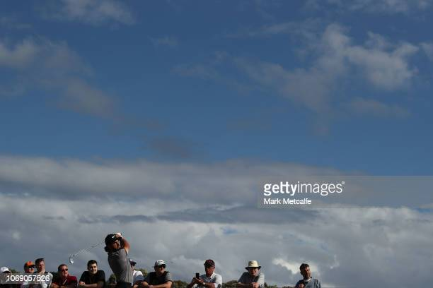 Abraham Ancer of Mexico tees off on the 17th hole during day four of the 2018 Australian Golf Open at The Lakes Golf Club on November 18 2018 in...