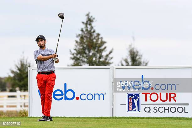 Abraham Ancer of Mexico tees off on the 18th hole on the Crooked Cat Course during the final round of Web.com Tour Q-School at Orange County National...