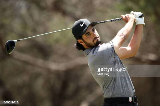 Abraham Ancer of Mexico tees off on the 8th hole during day four of the 2018 Australian Golf Open at The Lakes Golf Club on November 18 2018 in...