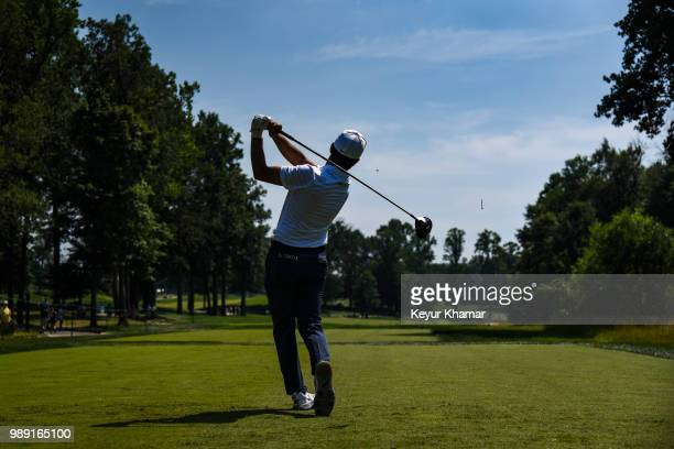 Abraham Ancer of Mexico tees off on the sixth hole during the final round of the Quicken Loans National at TPC Potomac at Avenel Farm on July 01 2018...