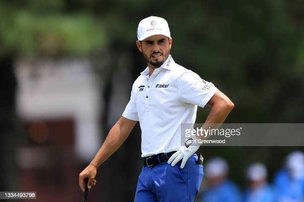 Abraham Ancer of Mexico waits to play a shot on the second hole during the final round of the World Golf Championship-FedEx St Jude Invitational at...